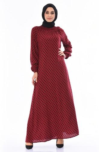 Polka Dot Viskose Kleid 0079-07 Weinrot 0079-07