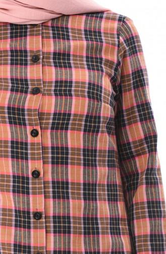 Ekose Desenli Düğmeli Tunik 1079-01 Taba