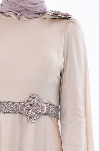Beige Hijab-Abendkleider 7061A-02