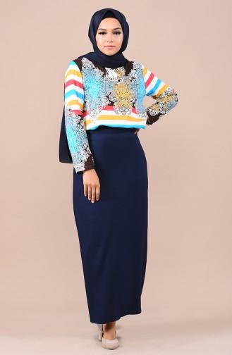 Navy Blue Skirt 2208-01