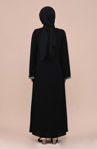 Taş Detaylı Ferace 0016-01 Siyah