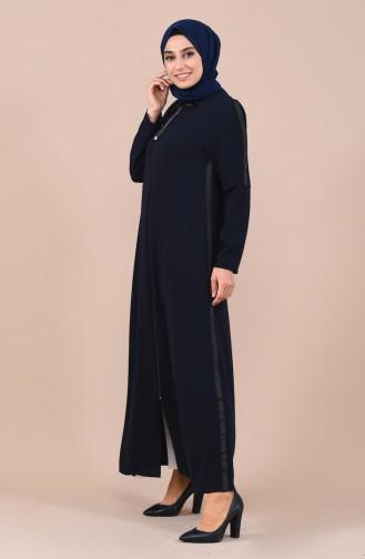 Abaya a Fermeture 0017-02 Bleu Marine 0017-02