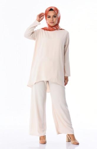 Aerobin Fabric Tunic Trousers Double Suit 4106-07 Cream 4106-07