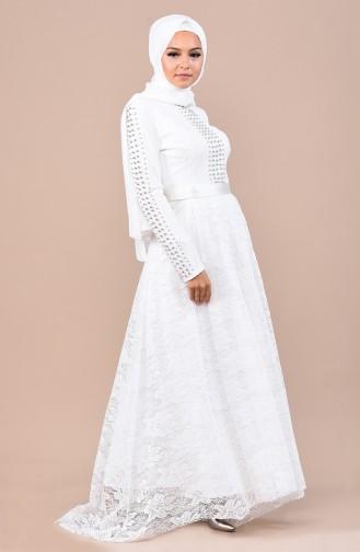 İncili Abiye Elbise 8030-02 Beyaz