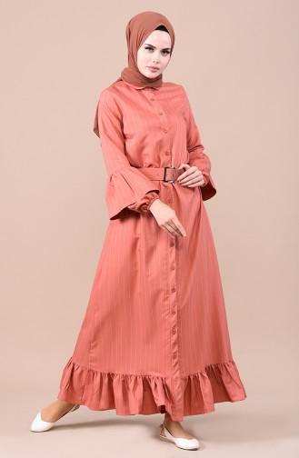 فستان قرميدي 0708-06