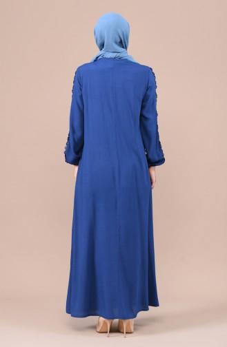 Dantel Detaylı Büzgülü Elbise 99203-01 İndigo