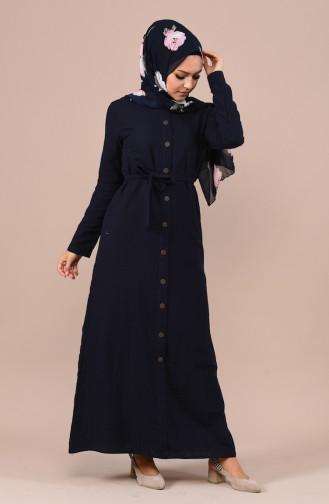 Geknöpftes sommerliches Kleid  6010-06 Dunkelblau 6010-06