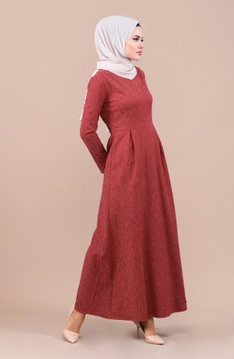 فستان قرميدي 3096-03
