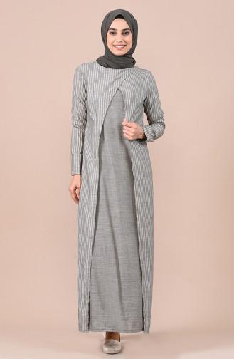 Khaki İslamitische Jurk 9028-05