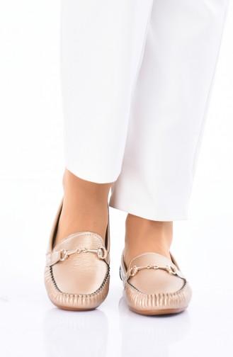 Gold Colour Woman Flat Shoe 102-11