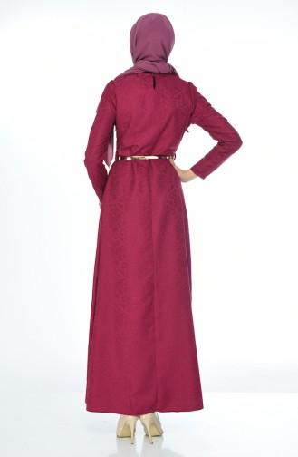 Sefamerve Kemerli Elbise 3951-04 Mürdüm