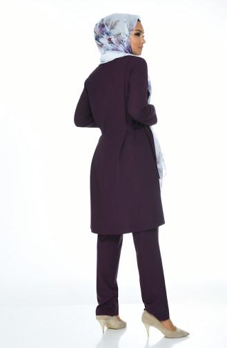Tunika Hose Doppel Set 0247-03 Lila 0247-03