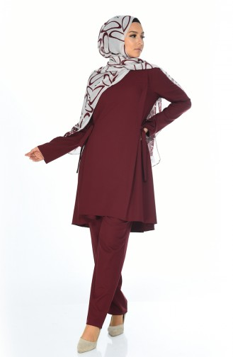 Ensemble Deux Pieces Tunique Pantalon 0247-04 Bordeaux 0247-04