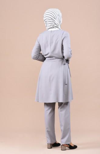 Yandan Bağlamalı Tunik Pantolon İkili Takım 0247-09 Gri