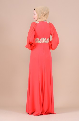 Dantelli Abiye Elbise 4275-02 Nar Çiçeği