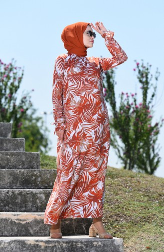 فستان قرميدي 8000-02