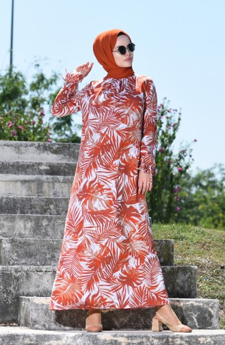 Palmiye Desenli Büzgülü Elbise 8000-02 Kiremit