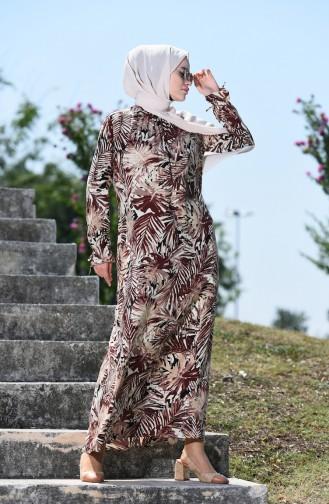 Palmiye Desenli Büzgülü Elbise 8000-04 Kahverengi