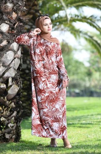 Palmiye Desenli Büzgülü Elbise 8000-06 Soğan Kabuğu