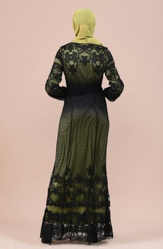 Spitzen Kleid  mit Band 7Y3718400-03 Schwarz Khaki 7Y3718400-03