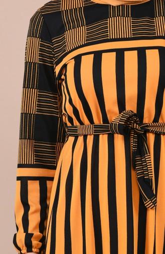 Robe a Rayures et Ceinture 1040A-03 Moutarde 1040A-03