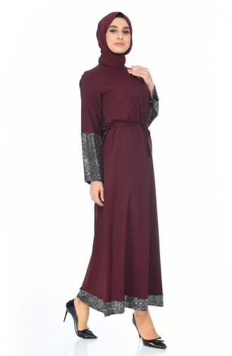 Pailletten Detailliertes Kleid mit Band 5390-06 Lila 5390-06