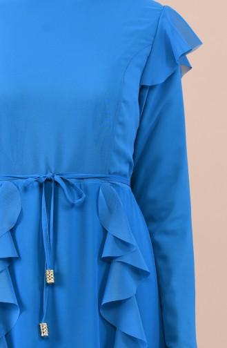 Fırfırlı Şifon Elbise 5021-01 Petrol