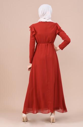 فستان قرميدي 5021-05