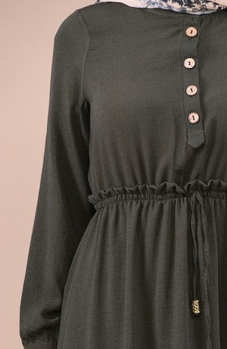 Beli Lastikli Düğmeli Elbise 5024-02 Haki