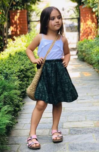 Gemusterter  Mutter-Tochter Kombination Rock  aus Baumwolle  53681-01 Grün 53681-01