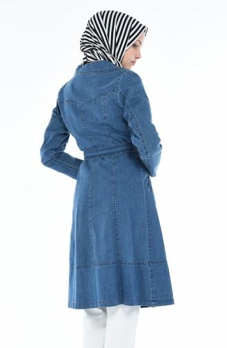 Veste Jean a Ceinture 0244-01 Bleu Jean 0244-01