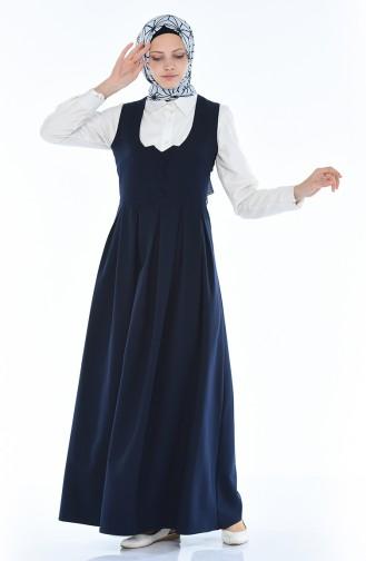 Plissee Gilet Kleid 11183-01 Dunkelblau 11183-01