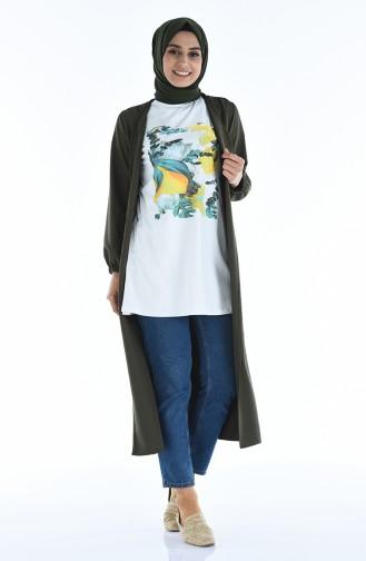 T-shirt Basic 0011K-01 Blanc Jaune 0011K-01