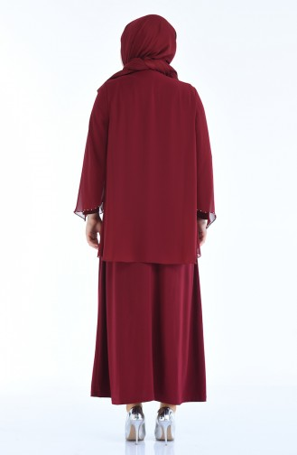 Claret red Islamic Clothing Evening Dress 3147-03