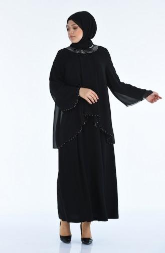 Büyük Beden İncili Abiye Elbise 3147-04 Siyah