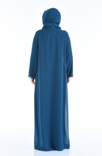 فساتين سهرة بتصميم اسلامي أزرق زيتي 6265-01