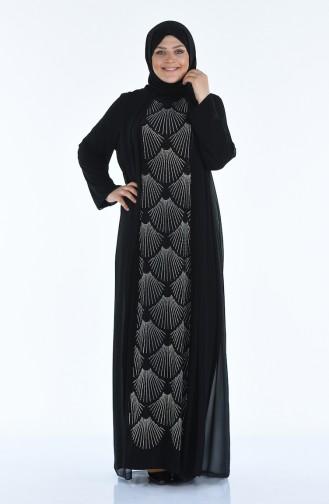 فساتين سهرة بتصميم اسلامي أسود 6265-03