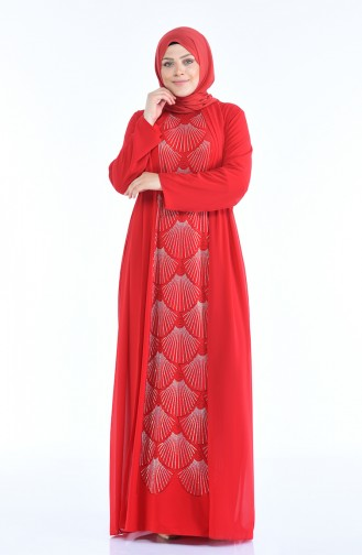 فساتين سهرة بتصميم اسلامي أحمر 6265-05