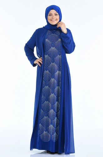Saxon blue Islamic Clothing Evening Dress 6265-06
