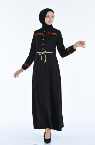 Besticktes Kleid 4285-01 Schwarz 4285-01