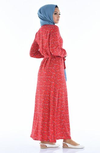Geknöpftes Gemustertes Kleid  0322-01 Rot 0322-01