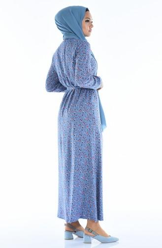Geknöpftes Gemustertes Kleid  0322-03 Eisblau 0322-03
