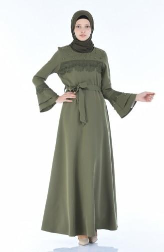 Khaki Hijab Dress 8Y3830400-03
