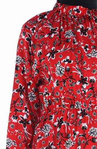 Robe a Motifs Taille Froncée 1046J-02 Rouge 1046J-02