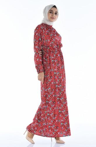 Gerafftes gemustertes Kleid 1046K-01 Rot 1046K-01