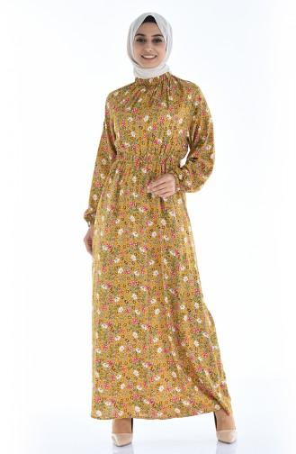 Gerafftes gemustertes Kleid 1046K-02 Senf 1046K-02