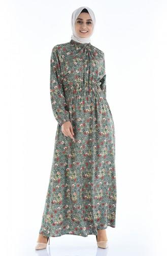 Gerafftes gemustertes Kleid 1046K-03 Khaki 1046K-03