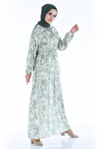 Gerafftes gemustertes Kleid 1046L-01 Grün 1046L-01