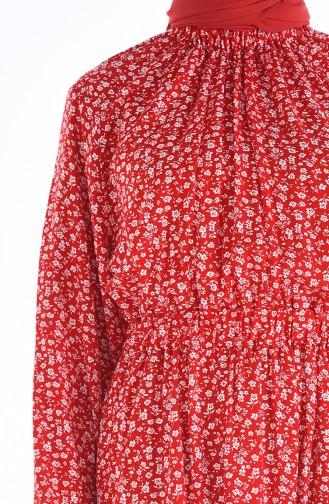 Gerafftes gemustertes Kleid 1046M-01 Rot 1046M-01