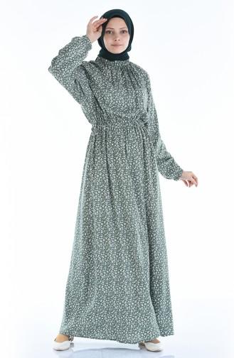 Gerafftes gemustertes Kleid 1046M-02 Khaki 1046M-02